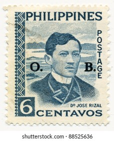 PHILIPPINES - CIRCA 1959: A stamp printed in Philippines, shows portrait of Jose Rizal, circa 1959