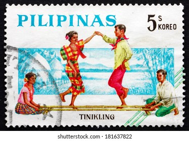 PHILIPPINES - CIRCA 1963: a stamp printed in Philippines shows Tinikling, Bamboo Dance, Folk Dance, circa 1963