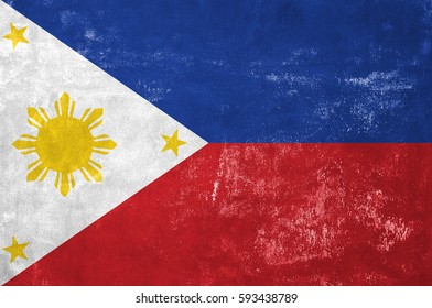 Philippines - Filipino Flag on Old Grunge Texture Background