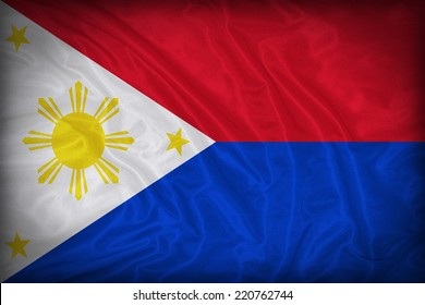 Philippines flag pattern on the fabric texture ,vintage style