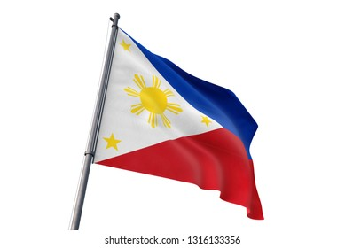 Philippines flag waving isolated white background 3D illustration