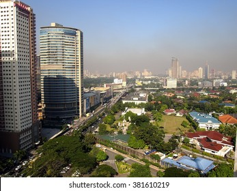 PHILIPPINES - JANUARY 14, 2016: Cityscape and skyline of Pasig City and the neighbor town of Mandaluyong and San Juan City