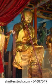 Philippines Manila beautiful golden Buddha in Chinese temple