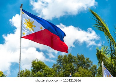 Philippines National flag flying in the wind, Philippines