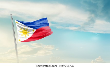 Philippines national flag waving in beautiful sky.