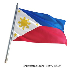 Philippines National Flag waving in the wind, isolated white background. High Definition