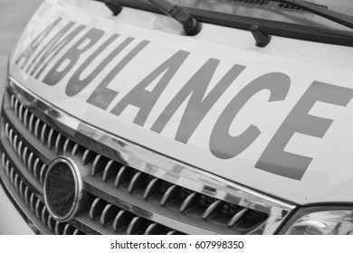 in  philippines old dirty bonnet of an ambulance concept of medical care