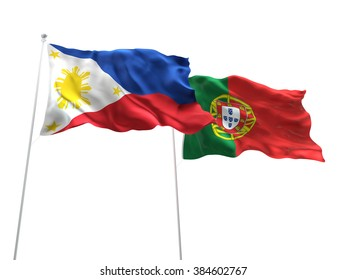 Philippines & Portugal Flags are waving on the isolated white background