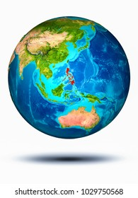 Philippines in red on model of planet Earth hovering in space. 3D illustration isolated on white background. Elements of this image furnished by NASA.