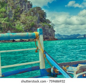 philippines   view of the island hill from the prow of a boat