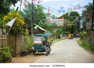 Philippino village with traditional Christmas decorations