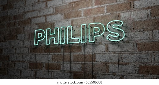 PHILIPS - Glowing Neon Sign on stonework wall - 3D rendered royalty free stock illustration.  Can be used for online banner ads and direct mailers.