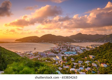 Philipsburg, Sint Maarten, cityscape at the Great Bay and Great Salt Pond.