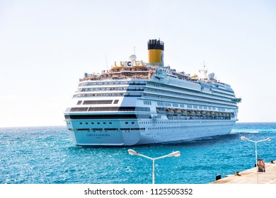 philipsburg, sint maarten - january 24, 2016: Cruise ship Ocean liner Costa Favolosa blue sea on sunny sky. Water transport and vessel. Luxury travel by sea, wanderlust. Summer vacation at Caribbean.