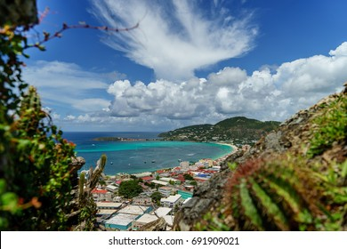 PHILIPSBURG, SINT MAARTEN -View from a high cliff with a cactus in the foreground