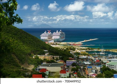PHILIPSBURG, SINT MAARTEN. View of the port with cruise ships from the Bird's eye view