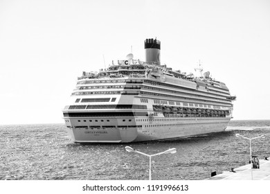Philipsburg, sint maarten-January 24, 2016: Cruise ship costa favolosa on philipsburg, sint maarten coast. Ocean liner in blue sea on sunny sky. Water transport and vessel. Luxury travel by sea