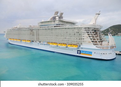 PHILIPSBURG, ST. MAARTEN Jan 14, 2011: Royal Caribbean, Allure of the Seas docked. It's the largest passenger ship ever built, just 2.0 in. longer the Oasis of the Seas