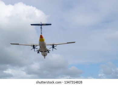 Philipsburg, St Maarten - November 16, 2018: LIAT V2-LIB aircraft, an ATR 72-600 regional airliner, landing at SXM (Princess Juliana International Airport) in Sint Maarten