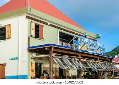 Philipsburg, St Maarten - November 16, 2018 - Blue Bitch Bar in Philipsburg Sint Maarten