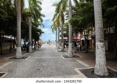 PHILIPSBURG, ST.MAARTEN - AUGUST 2, 2015: Entrance to Great Bay walkway in Philipsburg with palm trees