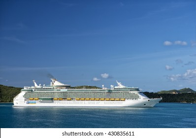 Philipsburg, St.Maarten, Netherlands-January 13, 2016: Royal Caribbean Cruise  ship Freedom of the seas sailing in bay of Philipsburgat sunny day on blue water and clear sky background