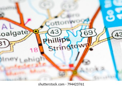 Phillips. Oklahoma. USA on a map