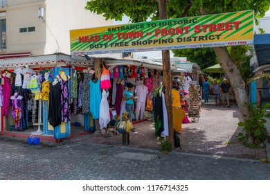 PHILLIPSBURG, ST. MAARTEN - JULY 11 - A view of Front Street shopping district, popular with tourists on July 11 2018 in Phillipsburg St. Maarten.