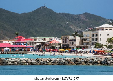 PHILLIPSBURG, ST. MAARTEN - JULY 11 - A scenic look at the beach, shops hotels and mountains on July 11 2018 in Phillipsburg St. Maarten.