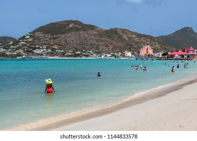 PHILLIPSBURG, ST. MARTEEN - JULY 11 - A beautiful white sand beach scene on July 11 2018 in Phillipsburg St. Marteen in the Caribbean.