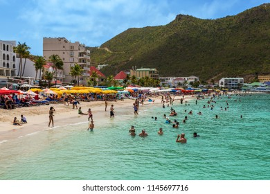 PHILLIPSBURG, ST. MARTEEN - JULY 11 - Beautiful mountains, pristine beaches and colorful buildings are part of the landscape on July 11 2018 in Phillipsburg, St. Marteen.