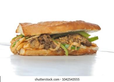 Philly beef steak cheese sandwich on white