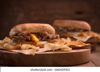 philly cheese burger potato food