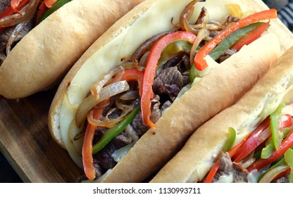 Philly Cheese Steak Sandwich: closeup, selective focus, viewed from above.