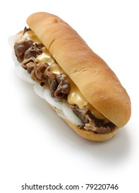 philly cheese steak sandwich isolated on white background