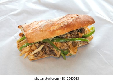 Philly cheese steak sandwich top angle