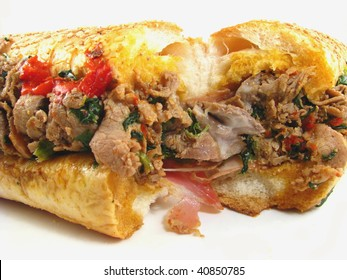 Philly Cheesesteak with Prosciutto, Peppers and Spinach