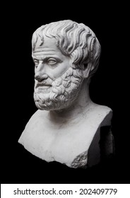Philosopher Aristotle Sculpture Isolated on Black Background
