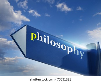 philosophy blue road sign over sky background
