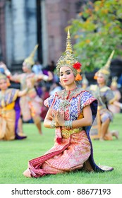 PHIMAI, THAILAND - NOVEMBER 12: A group of Thai dancers perform Thai dance in the occasion of Phimai Light and Sound Festival at Phimai Stone Castle November 12, 2011 in Phimai, Thailand.