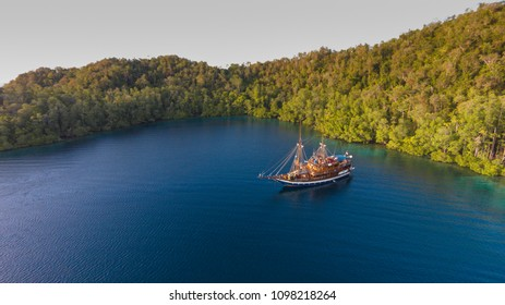 Phinisi boat at Raja Ampat National Park, Irian Jaya, Indonesia