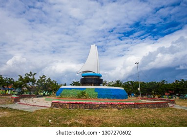 Phinisi boats monument landmark of  Bulukumba Regency, South Sulawesi, Indonesia.