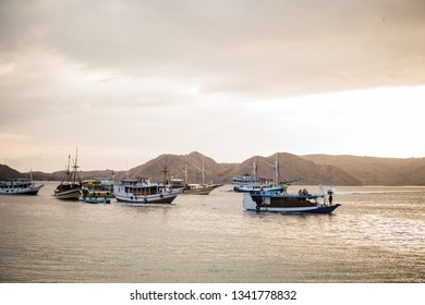 Phinisi Boats on the oacean of East Indonesia, at the Beautiful Komodo Island.