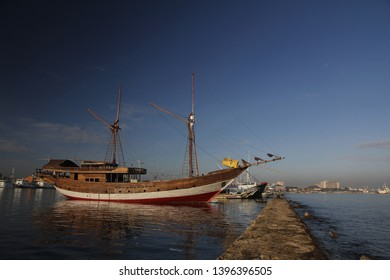 Phinisi ship - Traditional wooden sailing ships at Paotere Harbor