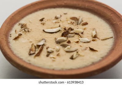 Phirni or firni - an Indian traditional dessert made of grinned rice, milk ,sweet and dry fruits