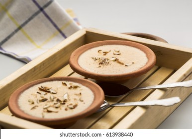 Phirni - an Indian traditional dessert made of grinned rice, milk ,sweet and dry fruits