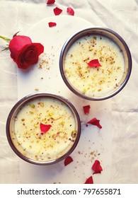 Phirni - Saffron and Pistachio flavoured rice pudding