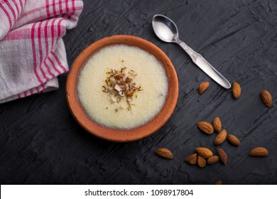 phirni -  sweet rice pudding - traditional punjabi sweet dish in earthen plate