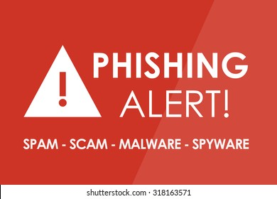 PHISHING Alert concept - white letters and triangle with exclamation mark