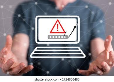 Phishing concept between hands of a man in background
